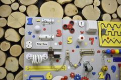 Бизиборд стандарт 50х65 см с ксилофоном Желто-Сине-Красный универсальный