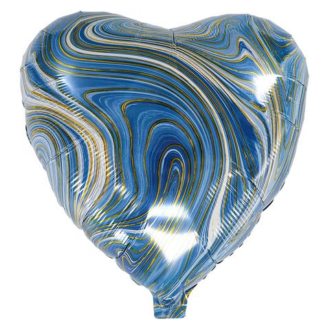 Воздушный шар Сердце - Агат (Голубой)