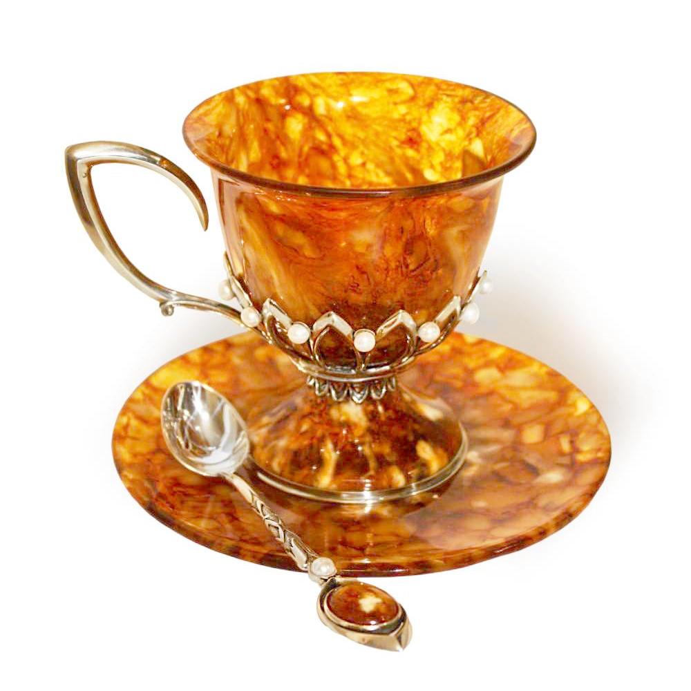 Чашка чайная из янтаря и бронзы «Императрица» с ложечкой