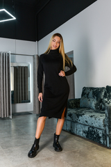 Черное трикотажное платье с длинным рукавом Nadya