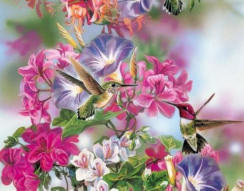 Алмазная Мозаика 40x50 Птички у цветов (арт. GA74132 )