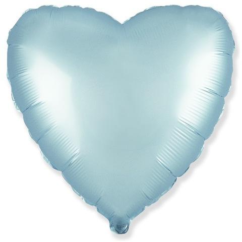 Шар сердце Голубой сатин, 45 см