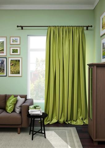 Готовая штора сатен Авери с подхватом зеленый