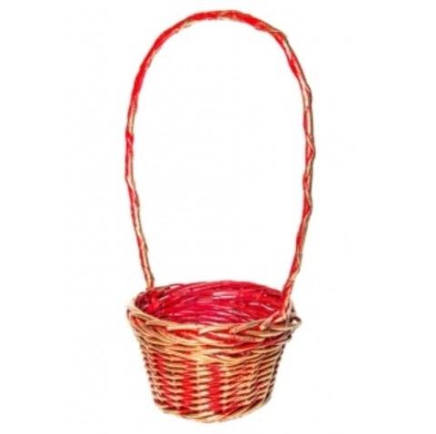Корзина плетеная (ива), D23x15xH54,5см, красно-золотая