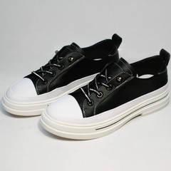 Летние кеды женские туфли на низком каблуке из натуральной кожи El Passo sy9002-2 Sport Black-White.