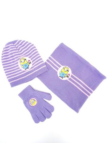 Комплект для девочки шапка+перчатки+снуд Minion