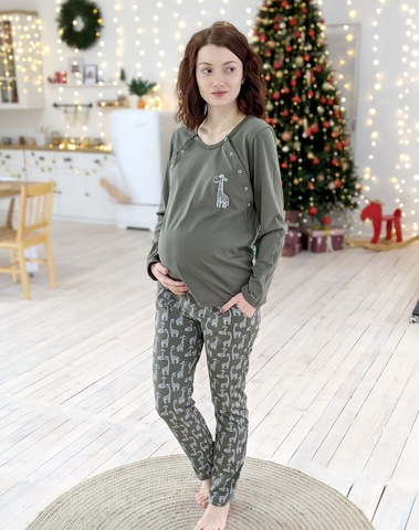 Комплект пижама штаны+лонгслив Жирафики (хаки), кулир, фото1