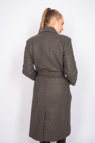 Удлиненное пальто из кашемира с поясом оптом