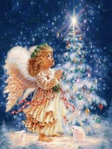 Алмазная Мозаика 50x65 Ангел на Рождество