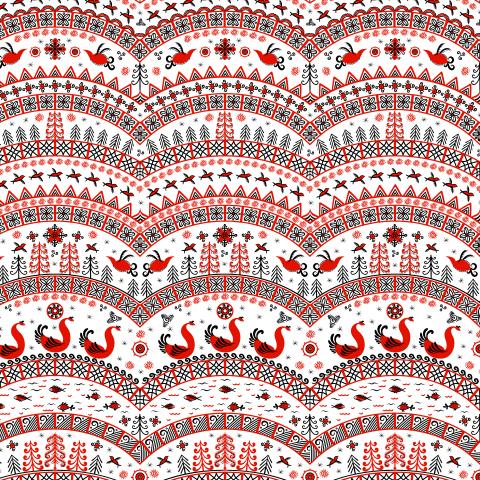 Птицы, полукруглые орнаменты на белом фоне. Мезенская роспись. (Дизайнер Irina Skaska)