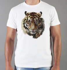 Футболка с принтом Тигр (Tiger) белая 001