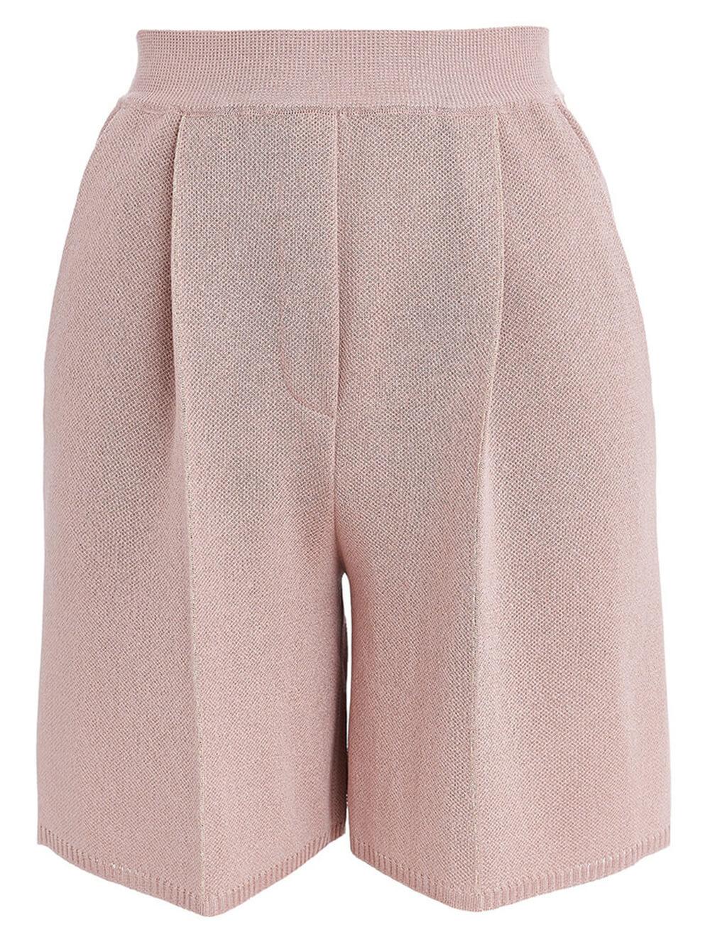 Женские шорты бежево-розового цвета из вискозы - фото 1