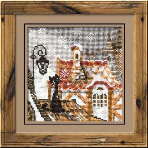 Набор для вышивания крестом «Город и кошки. Зима» (610)