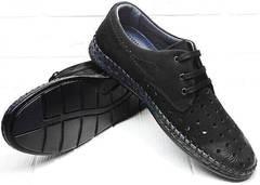 Модные мокасины туфли дерби мужские летние стиль смарт кэжуал Luciano Bellini 91754-S-315 All Black.