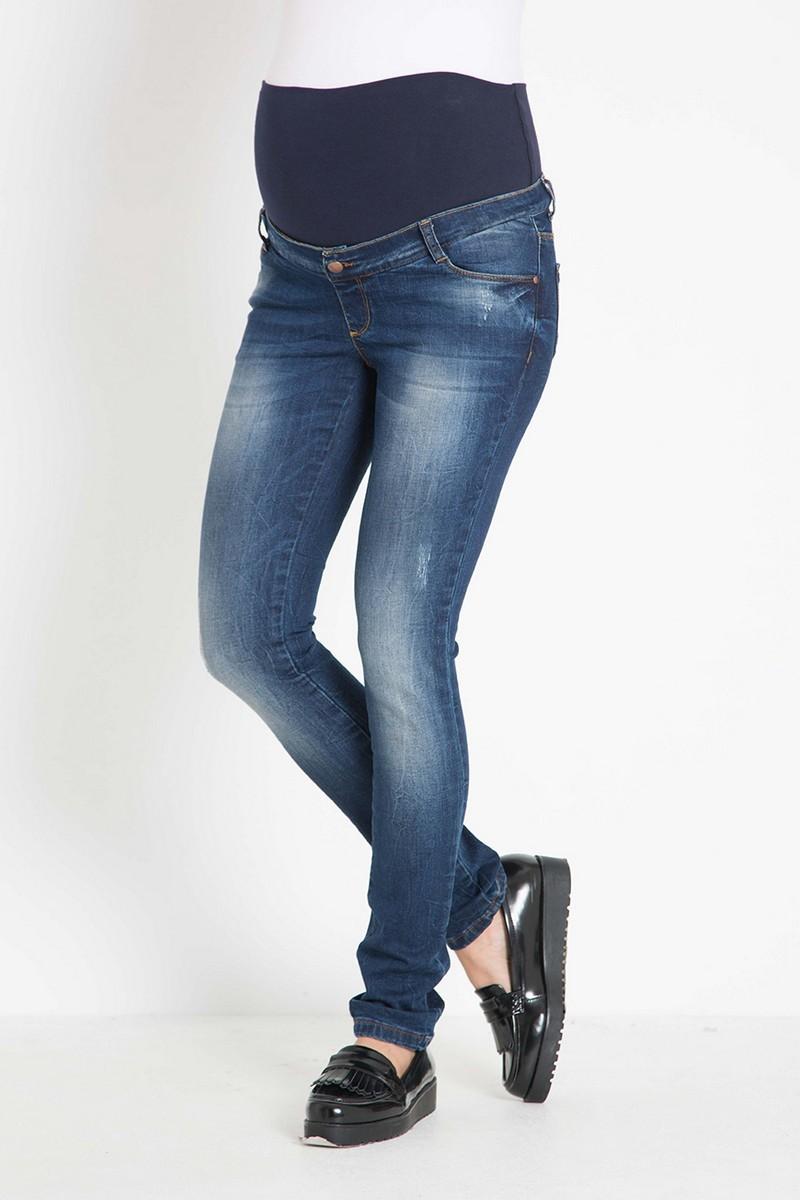 Фото джинсы для беременных GEBE, зауженные, высокий бандаж, регулировка объема от магазина СкороМама, синий, размеры.