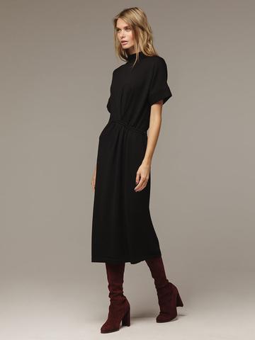 Женское черное платье из 100% шерсти - фото 1