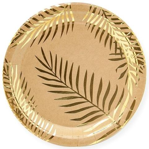 Тарелки (9''/23 см) Золотые листья, Крафт, 6 шт.