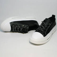 Модные туфли туфли кеды женские El Passo sy9002-2 Sport Black-White.