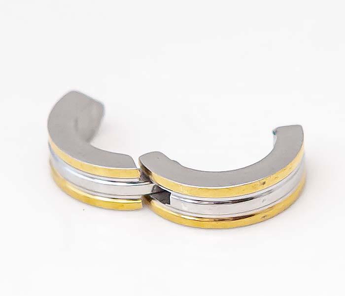 SSE-01011-GD Узкие клипсы «Spikes» с золотистыми полосками фото 06
