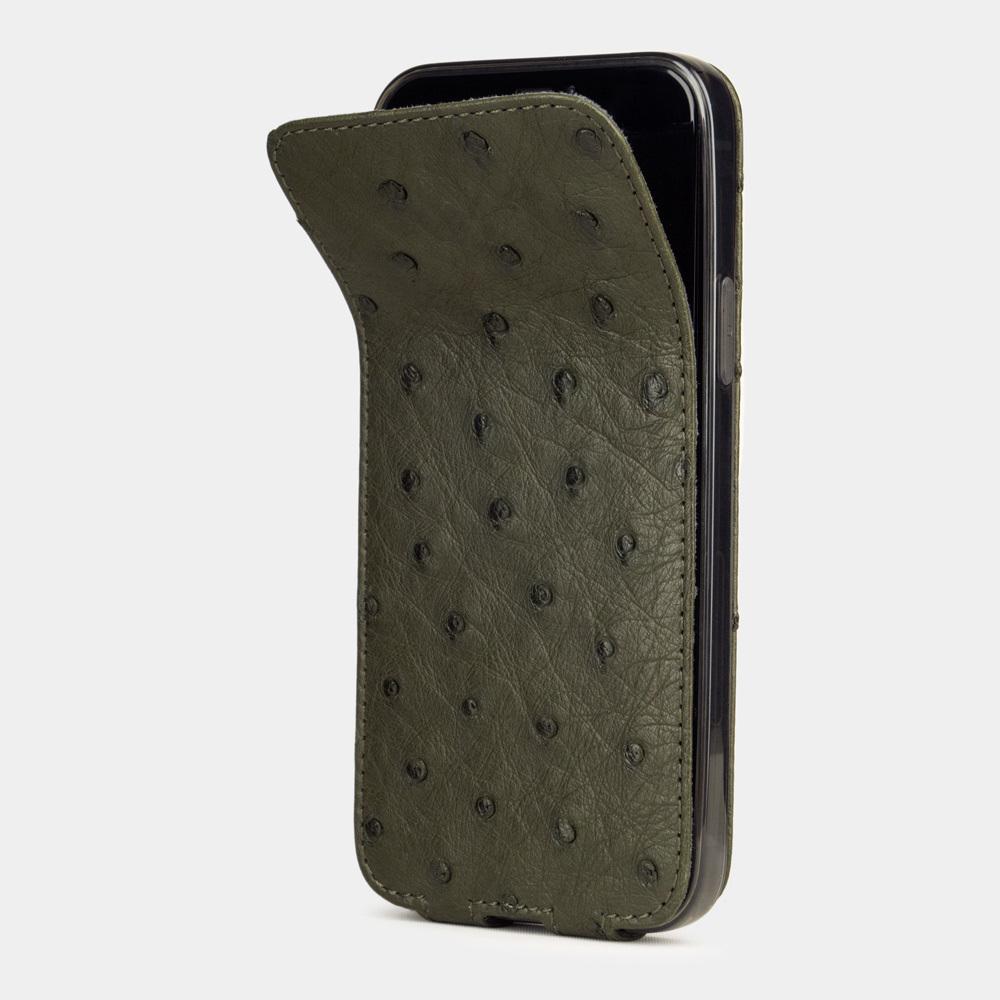 Special order: Чехол для iPhone 12/12Pro из натуральной кожи страуса, зеленого цвета