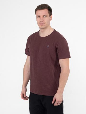 Мужская футболка «Великоросс» бордового цвета - круглый ворот