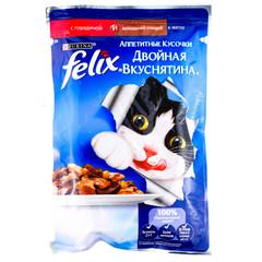 Корм для кошек Felix Двойная Вкуснятина говядина птица 85г