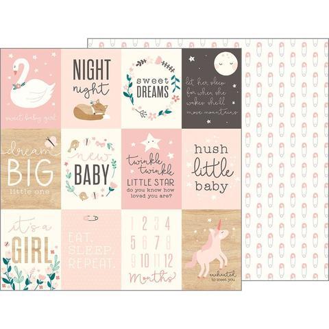 Лист двусторонней бумаги 30х30 см  - Night Night Baby Boy-Pebbles