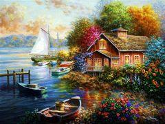 Картина раскраска по номерам 40x50 Домик у лодочной станции