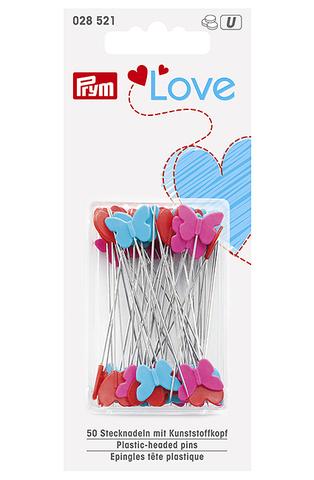 Булавки Prym Love с пластиковыми головками в виде сердечек и бабочек, 50х0,6мм, 50 шт, (Арт.028521)