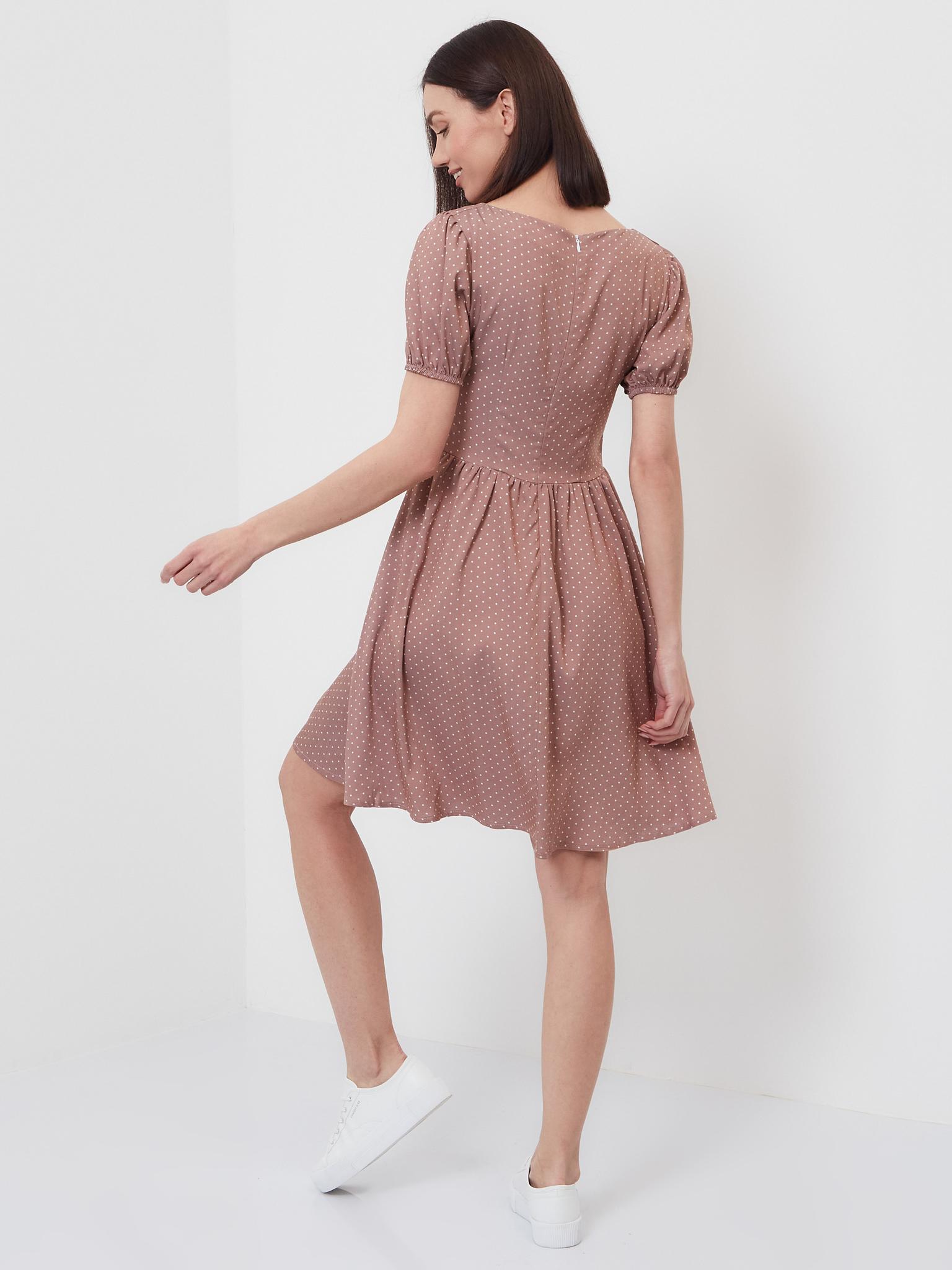 Женское летнее платье Brandmania в мелкий белый горошек с вырезом