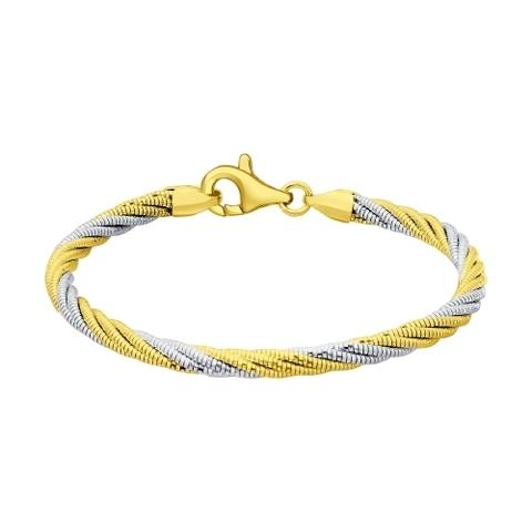94054555 - Браслет крученый из двухцветного серебра в лимонной позолоте