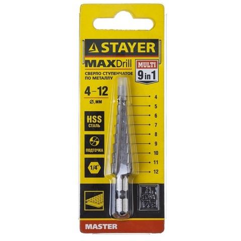 STAYER 4-12мм, 9 ступеней, сверло ступенчатое, сталь HSS