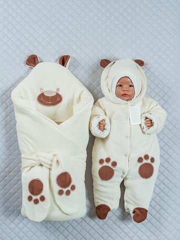 Комплект на выписку зимой Little Bear молочный