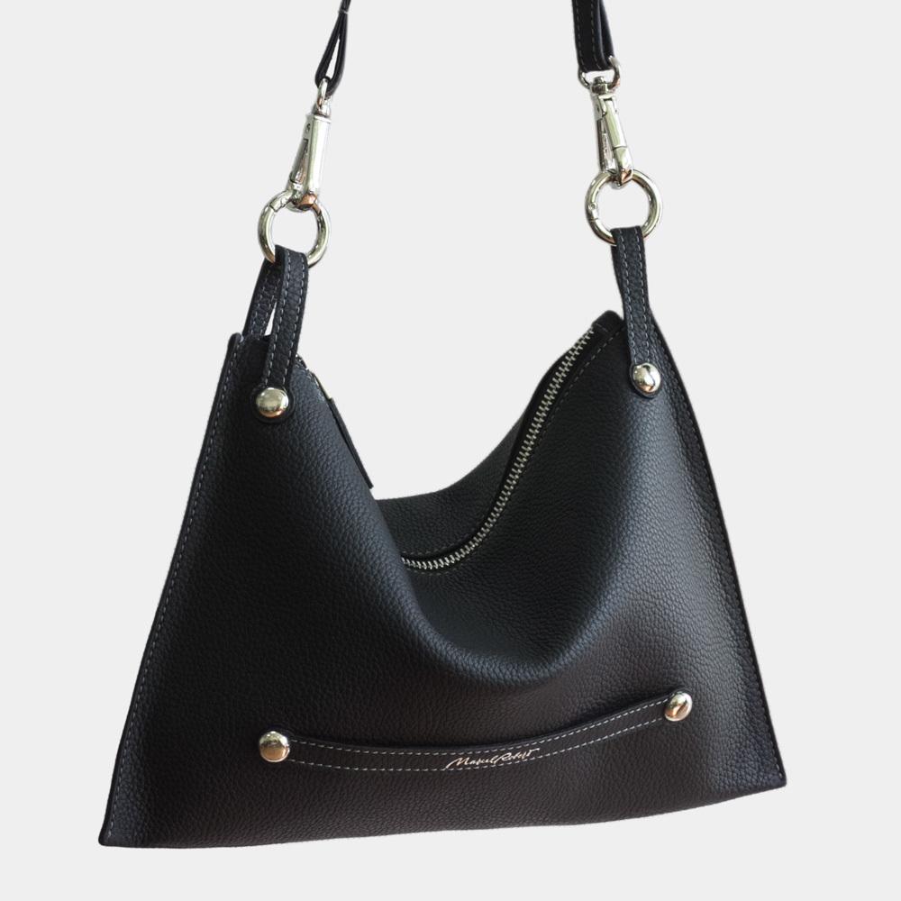 Женская сумка Julie Easy из натуральной кожи теленка, цвета черный мат