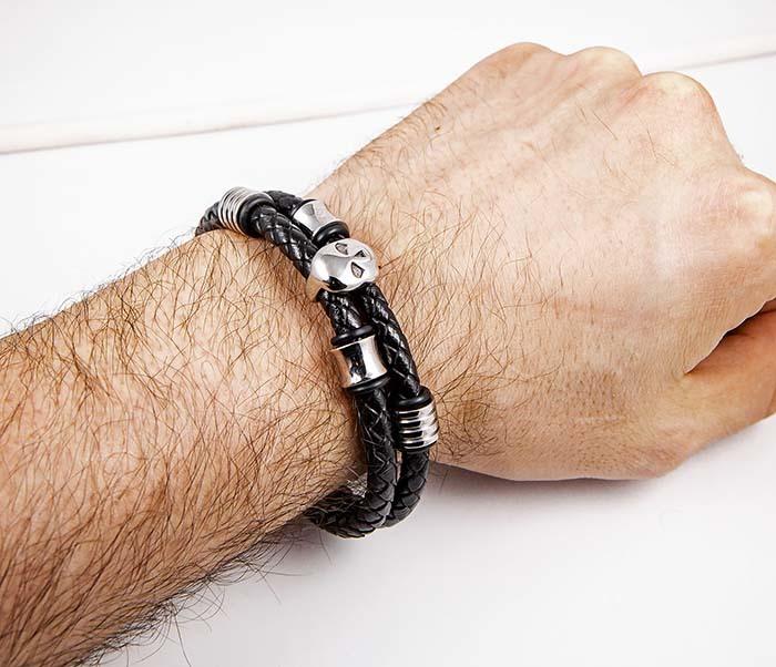 BM590 Мужской браслет из кожаных шнуров с черепом фото 06