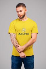Мужская футболка с принтом Акура (Acura) желтая 001