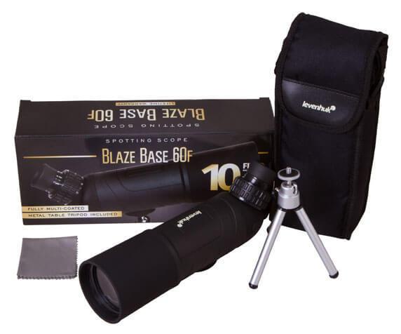 Комплект поставки подзорной трубы Levenhuk Blaze BASE 60F: штатив, футляр, салфетка, коробка