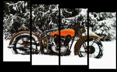 """Модульная картина """"Снежный мотоцикл"""""""