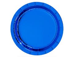 Тарелки фольгированные, Синий, 17 см, 6 шт, 1 уп.