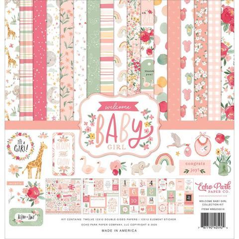 Набор бумаги  30х30см Echo Park Collection Kit -Welcome Baby Girl
