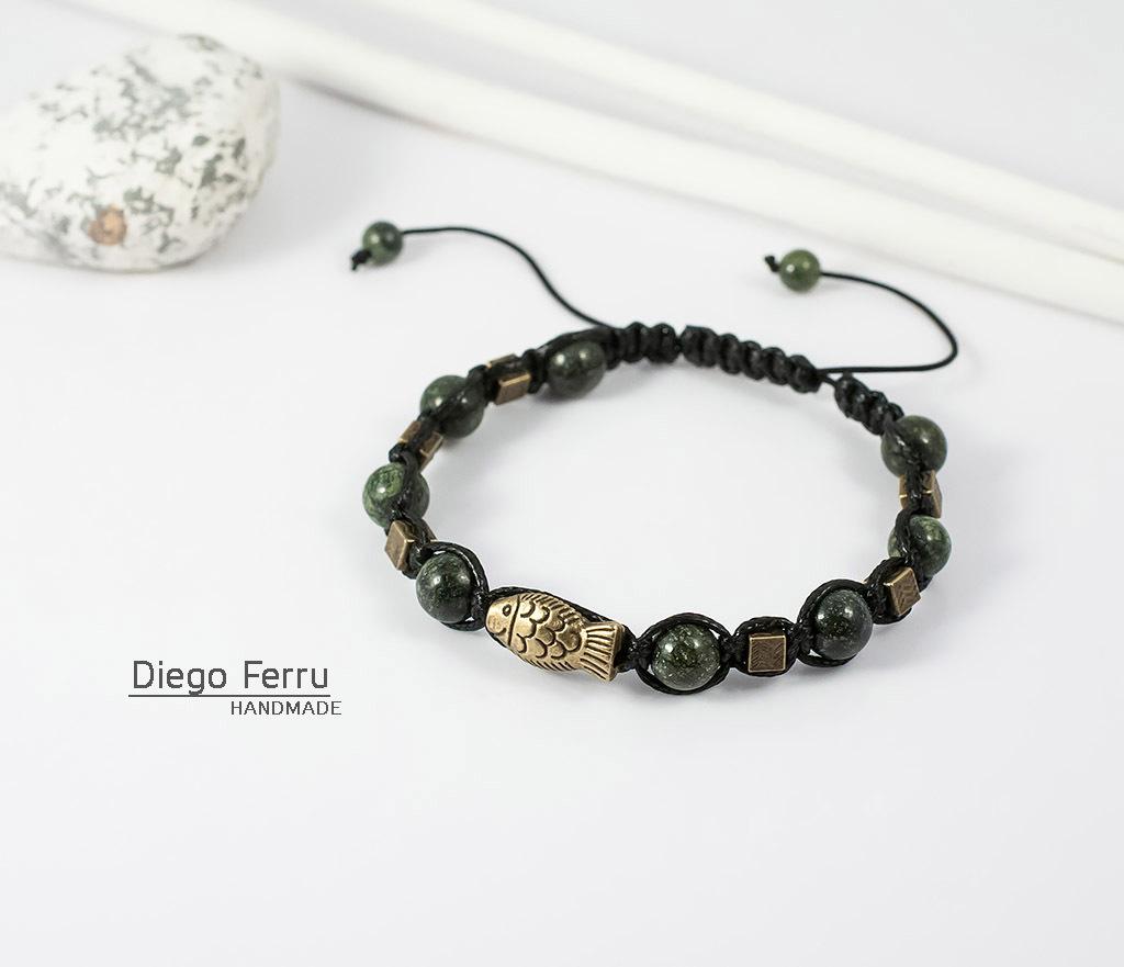 BS627 Стильный браслет из змеевика с металлической фурнитурой. «Diego Ferru»