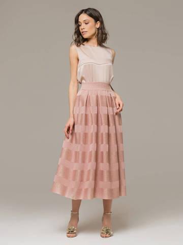 Женская юбка миди розового цвета - фото 1