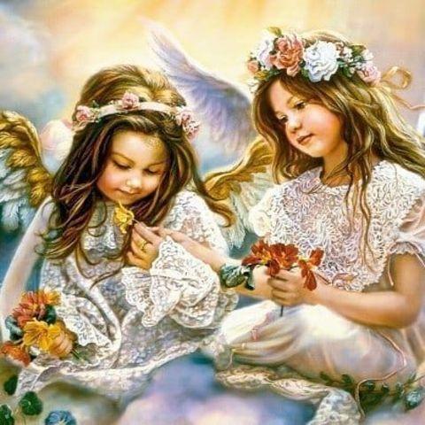 Алмазная Мозаика 40x50 Ангелы с цветами в руках