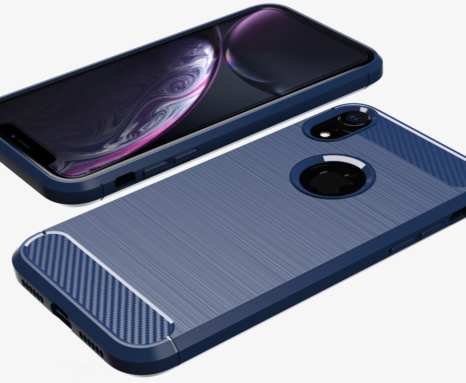 Чехол iPhone XR цвет Blue (синий), серия Carbon, Caseport