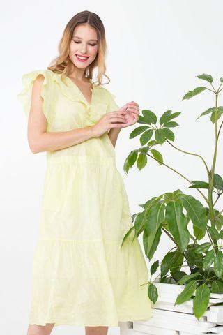 Фото хлопковое желтое платье с воланами на рукавах - Платье З372а-339 (1)