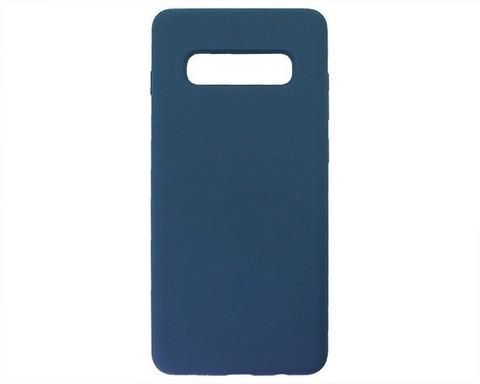Чехол для Samsung (G975F) Galaxy S10+ Софт тач мягкий эффект | микрофибра темно-синий