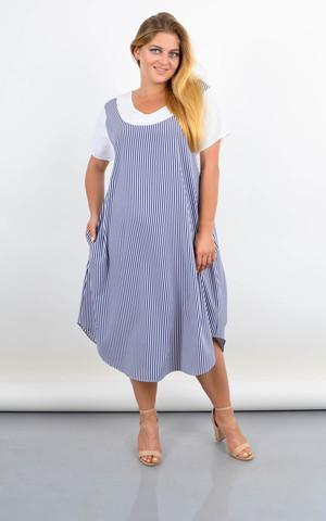 Шері. Літня сукня вільного крою батал. Синя смужка.