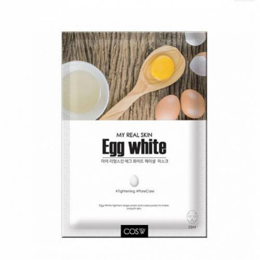Тканевая маска для лица яичный белок COS.W My Real Skin Egg White Facial Mask