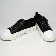 Черно белые кеды туфли с белой подошвой женские El Passo sy9002-2 Sport Black-White.