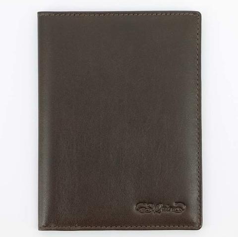 Обложка для паспорта S.Quire, натуральная воловья кожа, коричневый, гладкая, 9,9x13,4 см